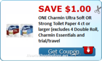 Save $1.00 ONE Charmin Ultra Soft OR Strong Toilet Paper 4 ct or larger