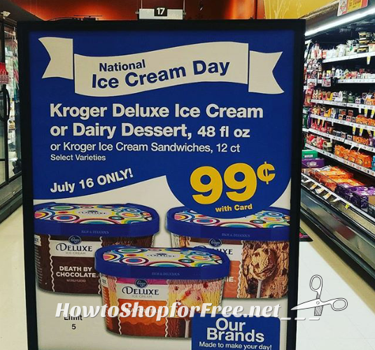 99¢ Kroger Ice Cream or Dairy Dessert, TODAY 7/16 ONLY!