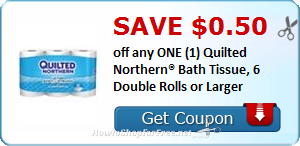 $0.50 OFF (1) Quilted Northern® Bath Tissue, 6 Double Rolls or Larger