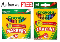 Crayola as low as FREE at Kmart this week!