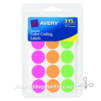 315ct. Avery Round Color Coding Labels for $1.12!!! (74% OFF)