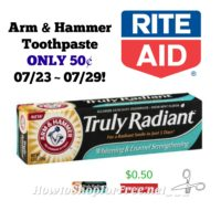 Arm & Hammer Toothpaste ONLY 50¢ at Rite Aid 07/23 ~ 07/29!