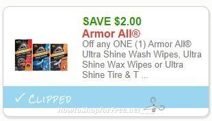 *RARE* Save $2.00 Off any ONE (1) Armor All Ultra Shine Wash Wipes, Ultra Shine Wax Wipes or Ultra Shine Tire & Trim Shine Sponges