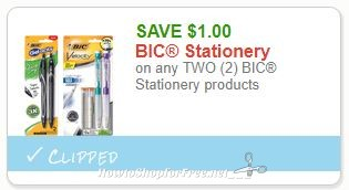 **NEW Printable Coupon** $1.00/2 BIC Stationery products