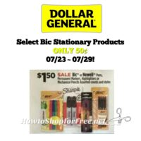 Select Bic Stationary Products ONLY 50¢ at Dollar General 07/23 ~ 07/29!