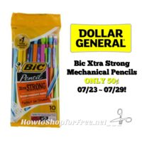 Bic Xtra Strong Mechanical Pencils ONLY 50¢ at Dollar General 07/23 ~ 07/29!!