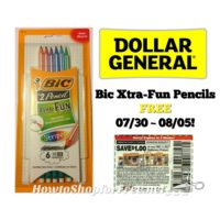 Bic Xtra-Fun Pencils FREE at Dollar General 07/30 ~ 08/05!!