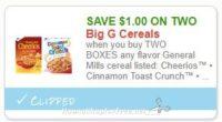 **NEW Printable Coupon** $1.00/2 Select Big G Cereals