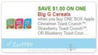 **NEW Printable Coupon** $1.00/1 Apple Cinnamon Toast Crunch™, Strawberry Toast Crunch™, OR Blueberry Toast Crunch™
