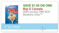 Save $1.00 when you buy ONE BOX Blueberry Chex™