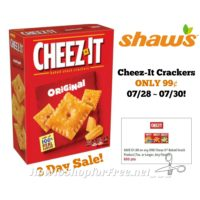 Cheez-It Crackers ONLY 99¢ at Shaw's 07/28 ~ 07/30 (3 Day Sale)!!