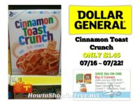 Cinnamon Toast Crunch ONLY $1.45 at Dollar General 07/16 ~ 07/22