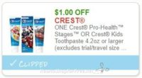 Save $1.00 ONE Crest Pro-Health™ Stages™ OR Crest Kids Toothpaste 4.2oz or larger (excludes trial/travel size)