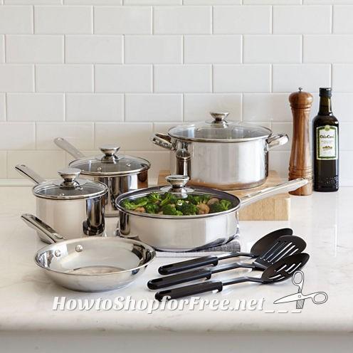 12-pc. Stainless Steel Cookware Set $17.99! (Reg/$100)