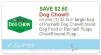 **NEW Printable Coupon** $2.50/1 32 lb or larger bag of Purina Dog Chow brand Dog Food or Purina Puppy Chow brand Puppy Food, any variety