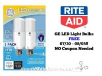 GE LED Light Bulbs FREE at Rite Aid 07/30 ~ 08/05 – NO Coupon Needed!