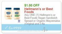 **NEW Printable Coupon**$1.00/1 Hellmann's or Best Foods Vegan Sandwich Spread or Organic Mayonnaise