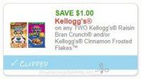 **NEW Printable Coupon** $1.00/1 Kellogg's Raisin Bran Crunch and/or Kellogg's Cinnamon Frosted Flakes™
