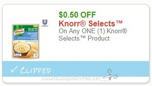 Save $0.50 On Any ONE (1) Knorr Selects™ Product