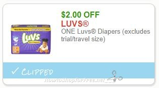 Save $2.00 ONE Luvs Diapers (excludes trial/travel size)