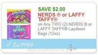 **NEW Printable Coupon** $2.00/2 NERDS or LAFFY TAFFY Laydown Bags (12oz)