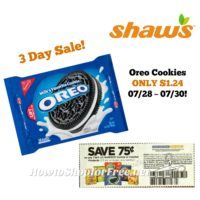 Oreo Cookies ONLY $1.24 at Shaw's 07/28 ~ 07/30 (3 Day Sale)