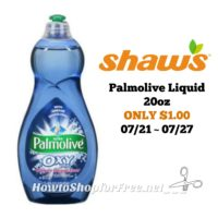Palmolive Liquid 20oz ONLY $1.00 at Shaw's 07/21 ~ 07/27!