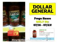Prego Sauce ONLY 50¢ at Dollar General 07/16 ~ 07/22!