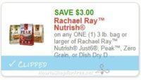 **NEW Printable Coupon** $3.00/1 3 lb. bag or larger of Rachael Ray™ Nutrish Just6, Peak™, Zero Grain, or Dish Dry Dog Food