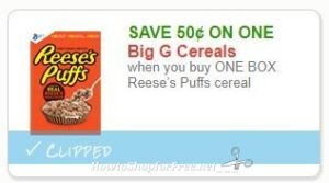 image about Puffs Coupons Printable called Clean Printable Coupon** .50/1 Reeses Puffs cereal How towards