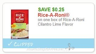 Save $0.25 on one box of Rice-A-Roni Cilantro Lime Flavor