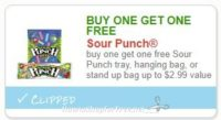 **NEW Printable Coupon** B1G1 FREE Sour Punch tray, hanging bag, or stand up bag up to $2.99 value