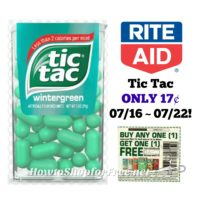 Tic Tac ONLY 17¢ at Rite Aid 07/16 ~ 07/22!