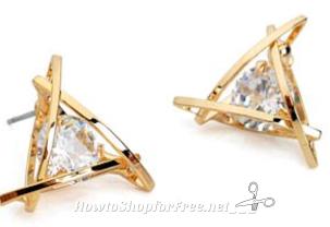 Free Triangle Crystal Zircon Stud Earrings