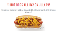 $1.00 Hot Dogs @ Sonic on July 19th! ALL DAY!!