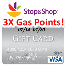 Visa Gift Card 3X Gas Points at Stop & Shop!