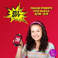 25% College Student Discount at OSJL, 8/24-9/6 Only!