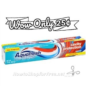 25¢ Aquafresh Cavity Protection ~Pack Up for College!