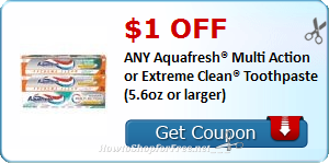$1.00 OFF ANY Aquafresh® Toothpaste (5.6oz or larger)