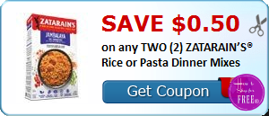 SAVE $0.50 on any TWO (2) ZATARAIN'S® Rice or Pasta Dinner Mixes