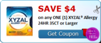 SAVE $4.00 on (1) XYZAL® Allergy 24HR 35CT or Larger
