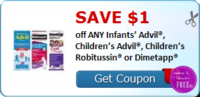 SAVE $1.00 off ANY Infants' Advil®, Children's Advil®, Children's Robitussin® or Dimetapp®
