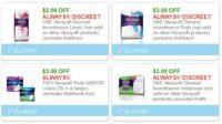 **NEW Printable Coupons**  4 Always Coupons Pre-Clipped for You!