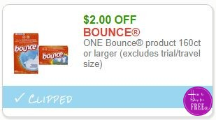 **NEW Printable Coupon** $2.00/1 Bounce product 160ct or larger