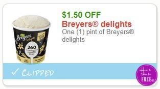 **NEW Printable Coupon** $1.50/1 Breyers delights