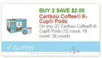 **NEW Printable Coupon** $2.00/2 Caribou Coffee K-Cup Pods