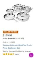 **Amazon Deal of the Day** Cuisinart Pro 8 piece Cookware Set – OVER Half Off!!