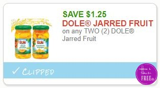 **NEW Printable Coupon** $1.25/2 DOLE Jarred Fruit