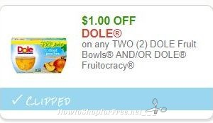 **NEW Printable Coupon** $1.00/2 DOLE Fruit Bowls AND/OR DOLE Fruitocracy