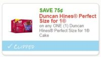 **HOT**NEW Printable Coupon** .75/1 Duncan Hines Perfect Size for 1 Cake